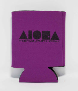 "Purple Aloha Shapes ® logo koozie with tagline below ""It's not just love, it's a lifestyle"""