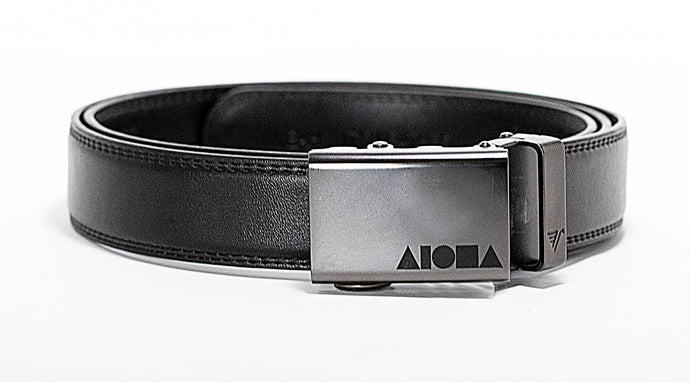 Black leather Aloha Shapes ® Mission Belt with gunmetal buckle