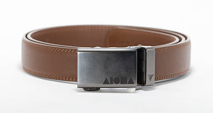 Brown leather Aloha Shapes® Mission belt with gunmetal buckle