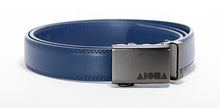 Blue leather Aloha Shapes® Mission Belt with gunmetal buckle
