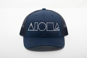 Navy blue adult curved bill snapback hat embroidered with Mauka to Makai Aloha Shapes logo on front in white