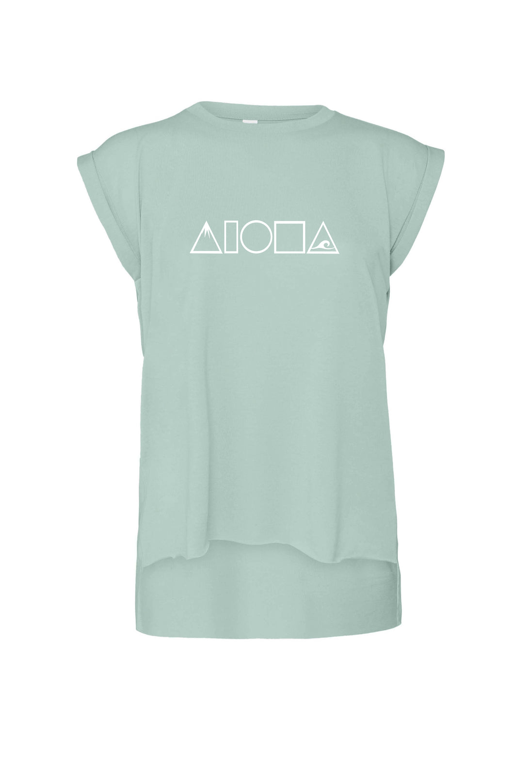 Dusty blue womens flowy muscle tee printed with white Aloha Shapes logo with mountains and saves in the A shapes. Designed in Maui Hawaii