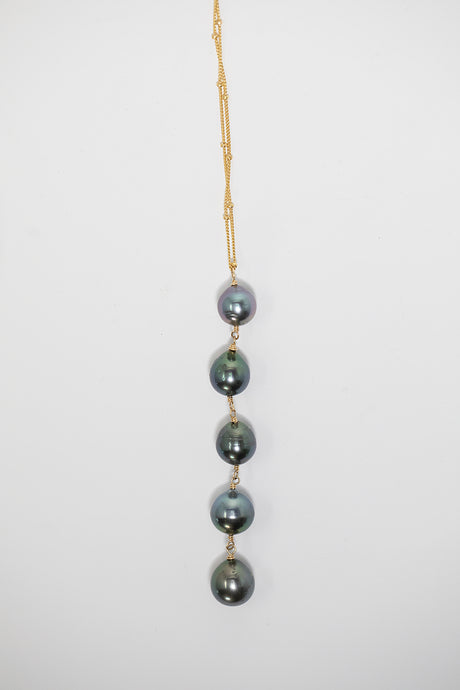 Five Tahitian pearl drop necklace on gold fill chain handmade in Maui, Hawaii