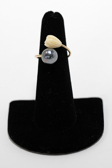 Gold fill cuff ring with Tahitian pearl and carved pikake flower. Made in Maui, Hawaii