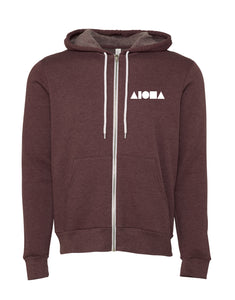 Heather Maroon Adult fleece zip-up hoodie hand-screenprinted with Aloha Shapes ® logo in white