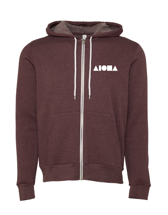 Aloha Shapes Heather Maroon Unisex Zip-up Fleece Hoodie
