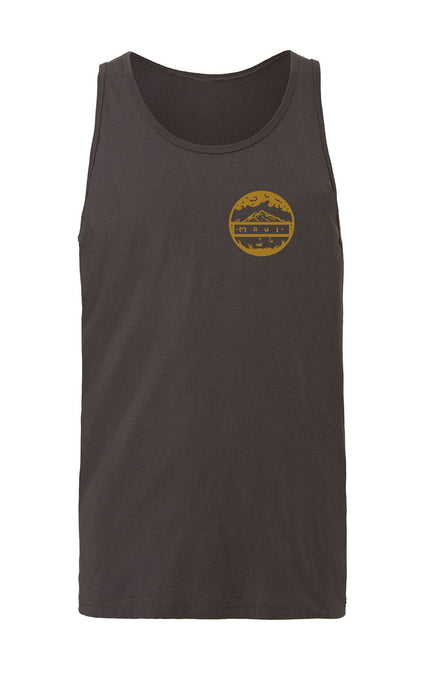Grey unisex tank top screen printed on front left chest with a circle logo showing words Maui with mountains above and fish below