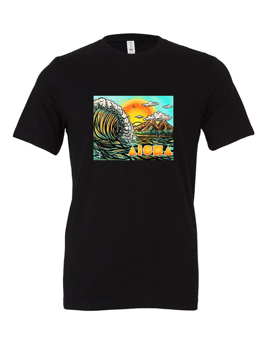 Black t-shirt featuring a Cartoon drawing of west side Maui beach surf spot designed in Big Island Hawaii and printed in Maui, Hawaii