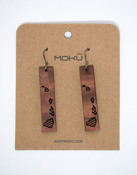 Dangle earrings made from Maui grown Eucalyptus wood laser etched with outlines of the hawaiian islands