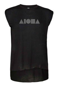 Womens flowy muscle tee with rolled cuff sleeves. Black with silver ALOHA Shapes ® logo printed on front.