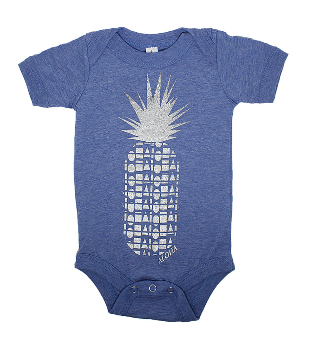 Heather blue baby onesie hand screen printed with a silver pineapple made of repeating Aloha Shapes logos. Handmade in Maui Hawaii