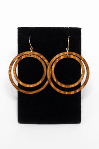 Hawaiian koa wood and 14 karat gold fill double hoop earrings