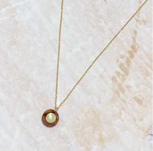 Hawaiian koa wood and mother of pearl gold fill necklace