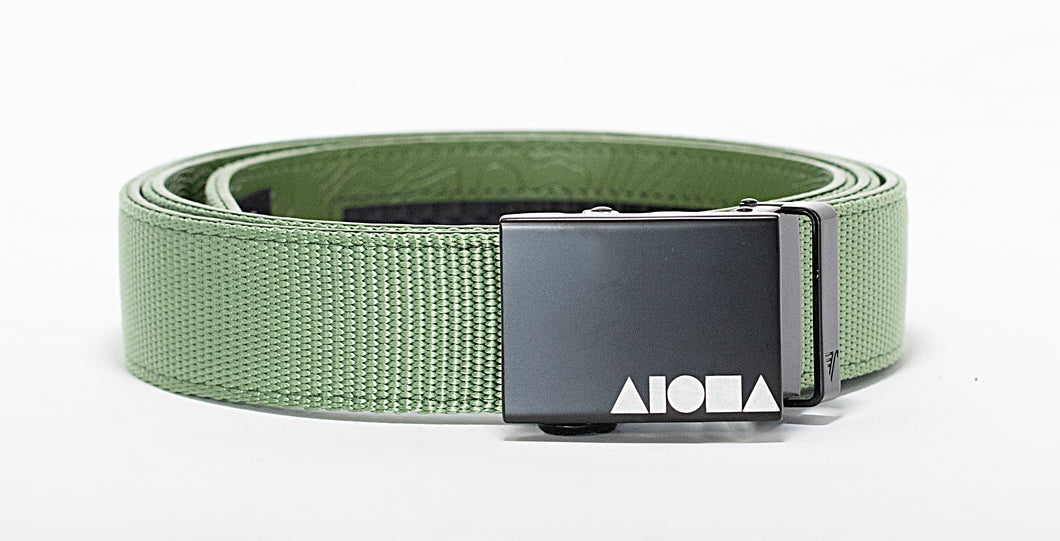Green nylon Aloha Shapes® Mission belt with black gunmetal buckle