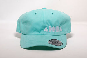 Baby Blue curved brim baseball cap/dad hat embroidered with white Aloha Shapes® logo