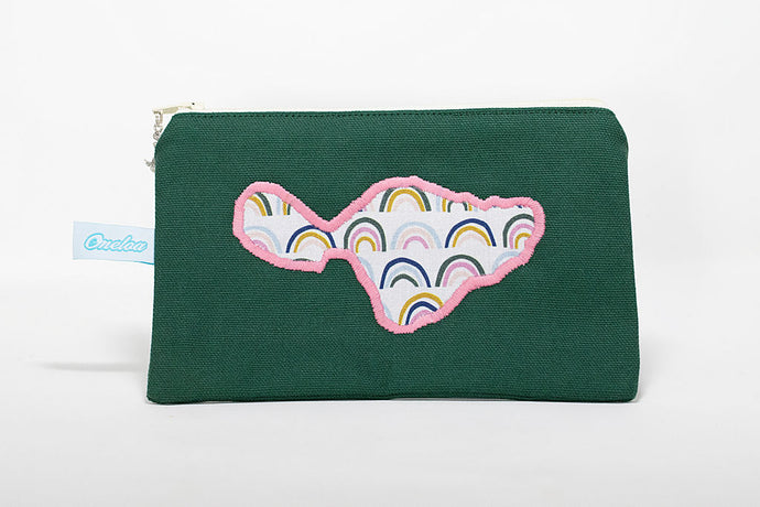 Oneloa Maui Green Rainbow Doodles Canvas Coin Purse