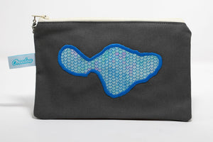 Grey canvas coin purse with embroidery of Maui in blue fish scale pattern