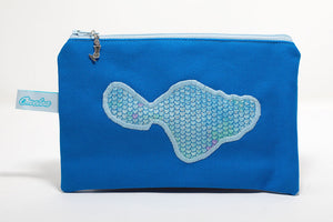Blue canvas coin purse embroidered with Maui shapes in blue mermaid scales fabric. Handmade in Maui, Hawaii