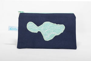 Handmade navy blue canvas coin purse embroidered with light blue Rainbow pattern outline of Maui island
