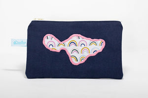 Oneloa Maui Navy Rainbow Doodles Canvas Coin Purse