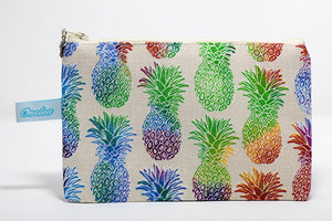 Rainbow colored pineapple print fabric coin purse handmade in Maui, hawaii