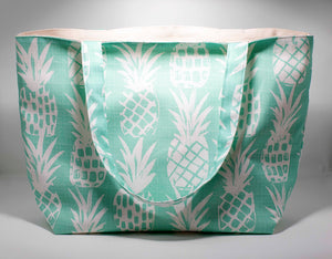 Oneloa Mint Green Pineapple Canvas Totebag