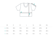 Measurement size chart for womens crop tee