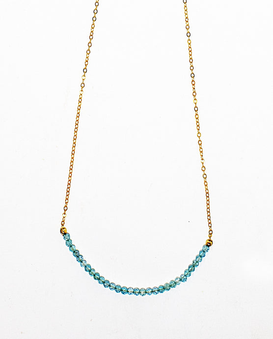 Topaz gemstone choker necklace on 14 karat gold fill chain. Handmade in Maui, Hawaii
