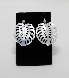 Mother of pearl carved Monstera leaf shape earrings handmade in Maui, Hawaii