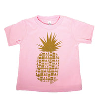 Pink babies hand screen printed with a gold pineapple made of repeating Aloha Shapes logos. Handmade in Maui Hawaii