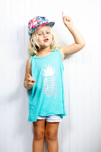 "Young blond girl wearing ""Ginger Snap"" Aloha Shapes® youth flat brim snapback hat"