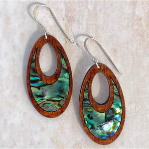 Handmade in Maui Hawaiian koa wood and abalone shell earrings