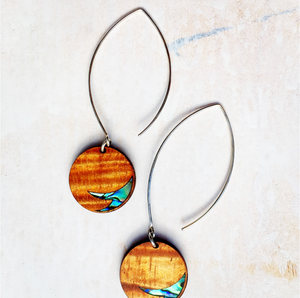 "Nāhele Designs ""Kai po'i"" Hawaiian Koa Wood Earrings"