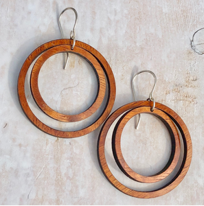 Hawaiian koa wood and sterling silver double hoop earrings