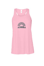 Aloha Shapes® Rainbow women flowy racerback tank hand printed in Maui, Hawaii