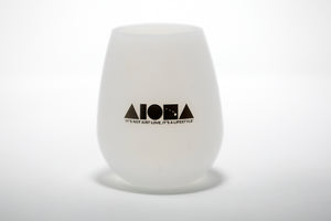 Silicone beach wine cup in white with black ALOHA Shapes ® logo printed on front