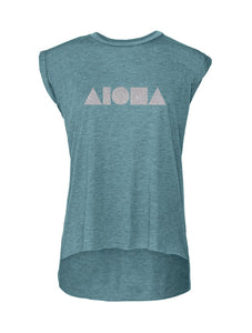 Heather teal flowy womens muscle tee with silver Aloha Shapes ® logo printed on front