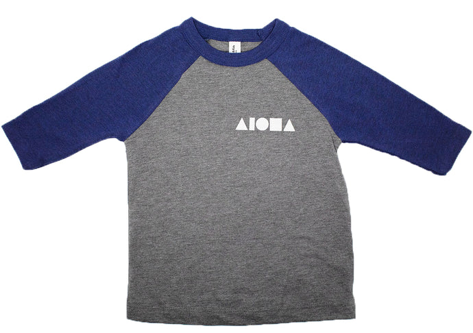 Grey and navy blue raglan sleeve toddler baseball tee with Aloha shapes ® logo