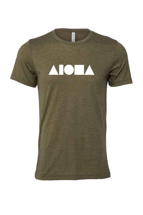 Heather olive unisex t-shirt hand screen printed on front with Aloha Shapes® logo in white