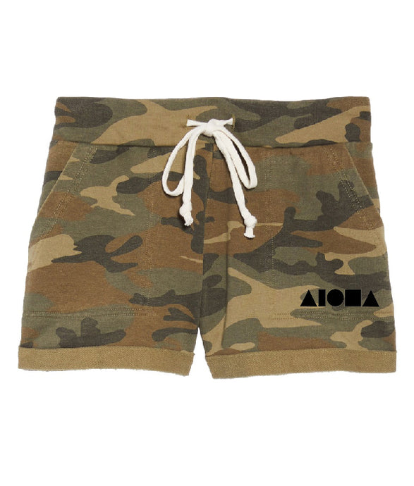 Womens French Terry camo print shorts with white drawstring screen printed with black Aloha Shapes ® logo