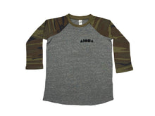 Youth Baseball tee with heather grey body and camo print sleeves screen printed with black Aloha Shapes logo on left chest