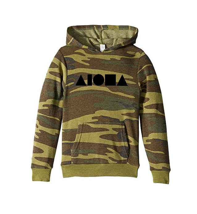 Camouflage print youth hoodie hand screen printed on front chest with black Aloha Shapes® logo. Designed in Maui, Hawaii
