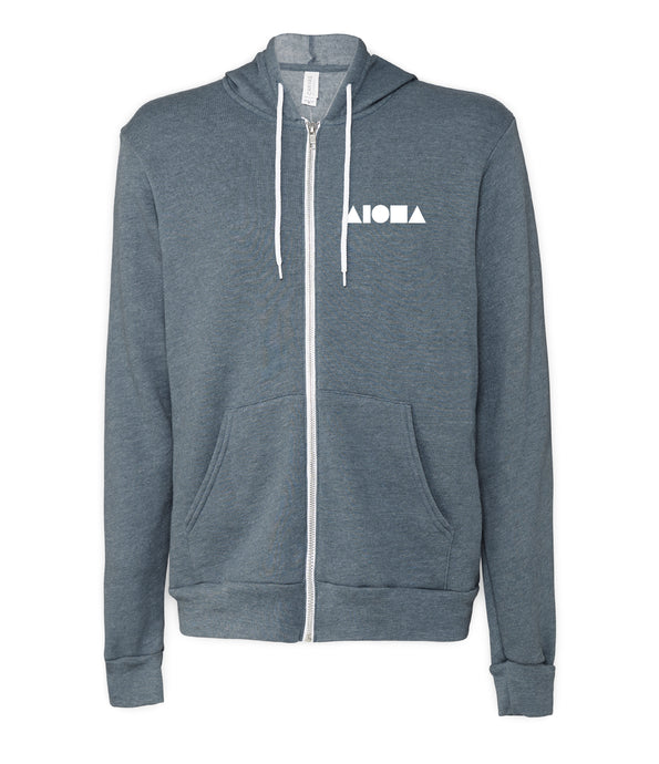 Heather Slate/blue unisex adult front zip hoodie hand-screen printed on front left chest with white Aloha Shapes logo.
