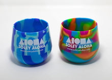 Silicone stemless wine glasses in two various tie-dye colors printed with Aloha Shapes logo