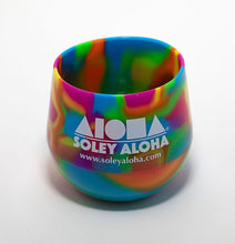 Silicone stemless wine glasses in rainbow tie-dye colors printed with Aloha Shapes logo