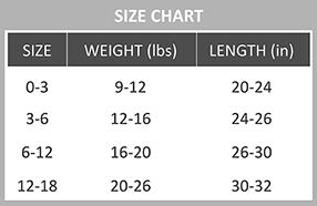 Baby leggings size chart