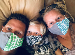 Family wearing handmade Aloha Shapes® cotton facemasks