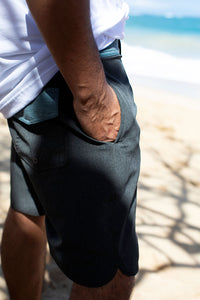 Man on beach with hands in pockets of Surf Aloha Shapes boardshorts