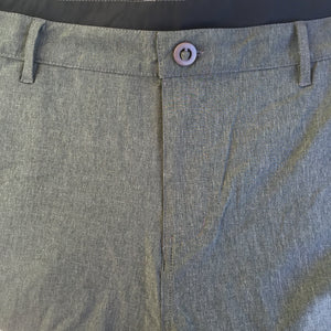 Detail image of front button and zipper closure. Belt loops