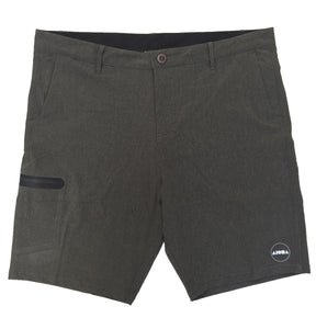 Mens surf board shorts/walk shorts hybrid in grey. Button & zip closure in front. Black/white Aloha Shapes® logo on bottom left short leg